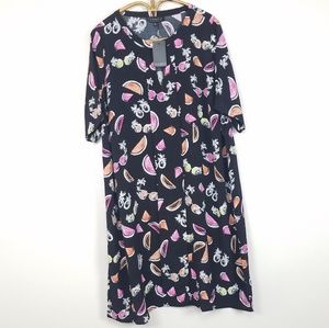 Eloquii Fruit Print Short Sleeve Dress Size 20 XXL